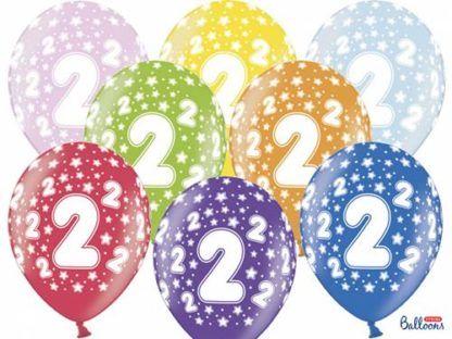 Kolorowe balony lateksowe z cyfrą 2