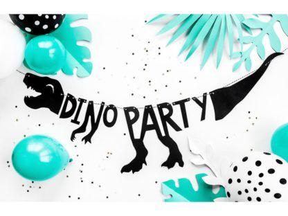 "Baner z napisem ""dino party"""