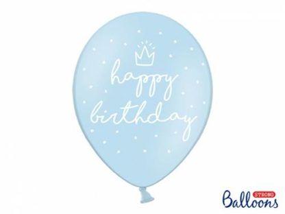 """Niebieski balon lateksowy z napisem """"happy birthday"""""""