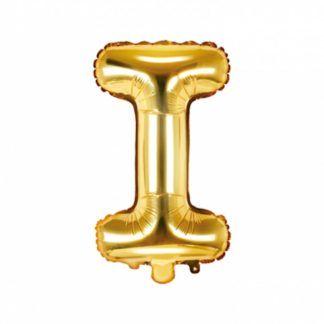Złoty balon foliowy w kształcie litery I