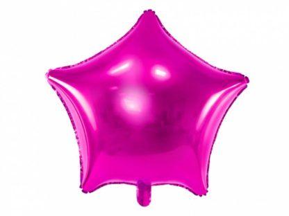 Balon foliowy w kształcie ciemnoróżowe gwiazdki