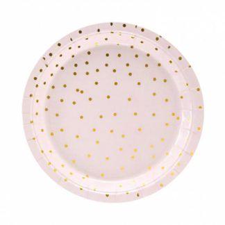 Różowy talerzyk ze złotymi kropkami