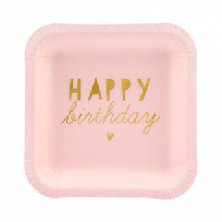 Kwadratowy różowy talerzyk urodzinowy