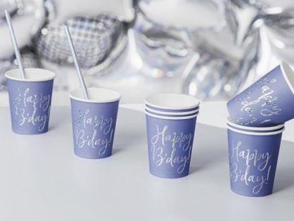 Granatowe kubeczki papierowe na urodziny
