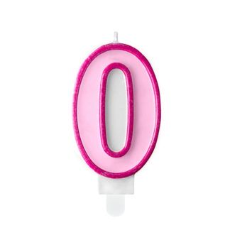 Różowa świeczka na tort w kształcie cyfry 0