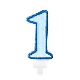 Niebieska świeczka na tort w kształcie cyfry 1