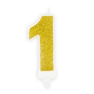 Złota świeczka na tort w kształcie cyfry 1
