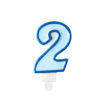 Niebieska świeczka na tort w kształcie cyfry 2