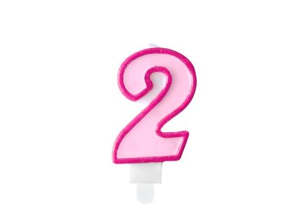 Różowa świeczka na tort w kształcie cyfry 2