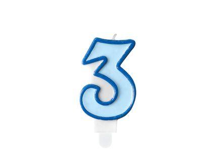 Niebieska świeczka na tort w kształcie cyfry 3