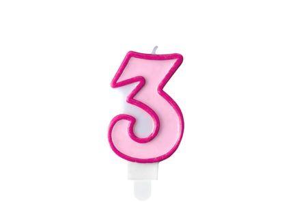 Różowa świeczka na tort w kształcie cyfry 3