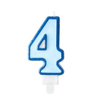 Niebieska świeczka na tort w kształcie cyfry 4