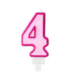 Różowa świeczka na tort w kształcie cyfry 4