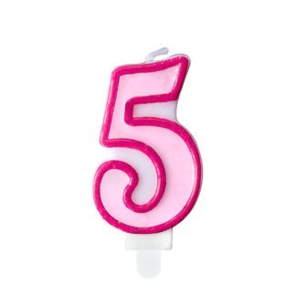 Różowa świeczka na tort w kształcie cyfry 5