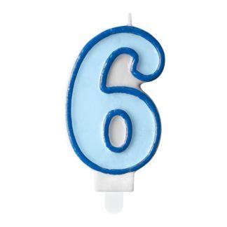 Niebieska świeczka na tort w kształcie cyfry 6