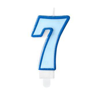 Niebieska świeczka na tort w kształcie cyfry 7