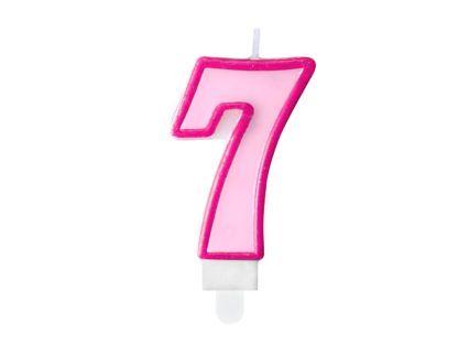 Różowa świeczka na tort w kształcie cyfry 7