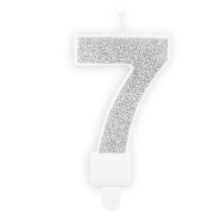 Srebrna świeczka na tort w kształcie cyfry 7