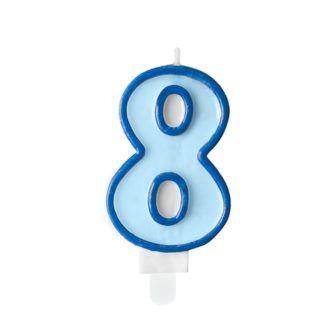 Niebieska świeczka na tort w kształcie cyfry 8